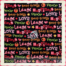 BonEful Fabric FQ Cotton Quilt Black Pink Red Girl Friend Peace Love Heart Word
