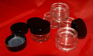 5 x 5g Glass Cosmetic Jars With Gloss Black Lid/Lip Balm Pot Airtight