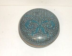 RARE CHINESE CLOISONNE TURQUOISE COLOR ENAMEL JAR BOWL BOX