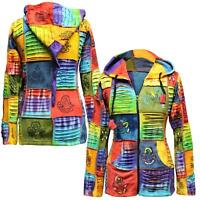 Women's Colorful Slashed Patchwork Hippie Hand Hoodie Pixie Boho Jacket Goth Top