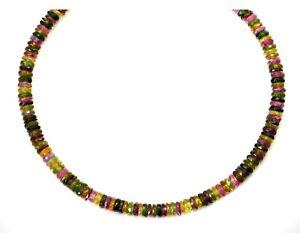 "Multi Color Tourmaline Necklace Solid Strand Sterling Silver 14k Gold  20"" Pink"