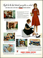 1949 Singer Sewing Centers young school girls dresses vintage photo print ad L23