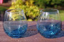 Pier 1 Teal Blue Crackle Stemless Wine Glasses Hand Blown set of 2