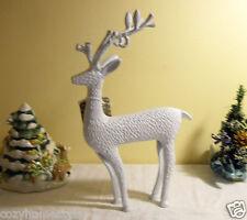 Reindeer Deer White Notching Metal Curly Antlers Christmas Decor Figurine Gift