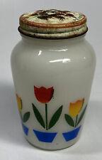 Anchor Hocking FIRE KING Pepper Shaker Tulip Milk Glass ~ Original Lid