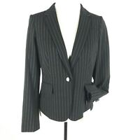 Calvin Klein Women Blazer Pinstripe 1 Button Pockets Black White Petite Size 10P