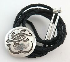 Silver Round Bolo Tie Unique Southwestern Sterling on Sterling