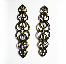 Loveheart wraps antique bronze 53x14mm pkt 5, 10 or 20