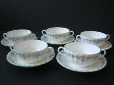 ROYAL WORCESTER ENGLISH GARDEN 5 X SOUP COUPES AND STANDS