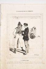 CARICATUREE de BEAUMONT La Civilisation aux Iles Marquises 16 Chapeau Gibus