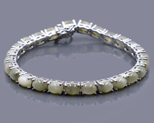 Natural 7X5MM Oval 23.45Cts Cat's Eye Gemstone 925 Solid Silver Tennis Bracelet