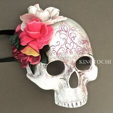 Day of the Dead Skull Flower Half Face Halloween Masquerade Scary Mask