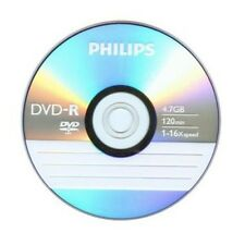 100 PHILIPS LOGO 16X DVD-R DVDR Blank Disc Storage Media 4.7GB