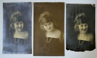 3 1920's Flapper Girl Portrait Photos Seattle Eerie Ghostly Silver Gelatin Vtg