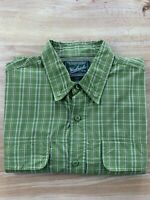 Woolrich Men's Large Vented Long Sleeve Shirt Olive Green Hiking Fishing Outdoor