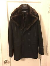 karl lagerfeld paris men peacoat with faux fur collar black size small