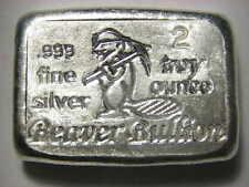 Beaver Bullion hand poured Canadian 2 troy ounce 999 fine silver bar