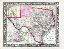 1860 MITCHELL Hand Colored Map TEXAS - Lone Star  - Pre Civil War- Outstanding