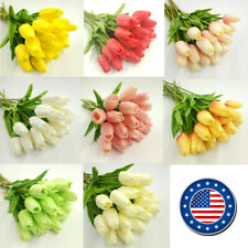 US 10 head Real Touch Artificial Tulip Fake Flower Wedding Home & Party Decor
