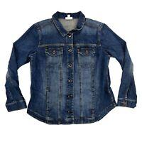 J Jill Denim Jacket Womens Medium Blue Jean Button Front Medium Wash Long Sleeve