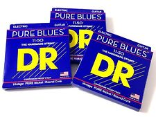 DR Guitar Strings 3 Pack Electric Pure Blues Vintage Pure Nickel  11-50