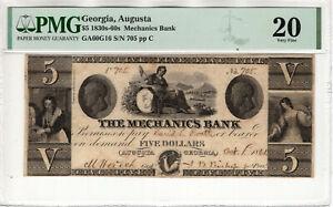 1830 $5 MECHANICS BANK AUGUSTA GEORGIA OBSOLETE NOTE PMG VERY FINE VF 20 (083)