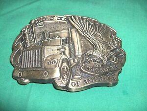#825 - SOLID BRASS TRUCKER BELT BUCKLE - BIG RIG, SEMI - BACKBONE OF AMERICA