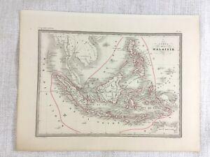 1846 Antique Map of Melanesia Java Sumatra Indonesia Hand Coloured Engraving
