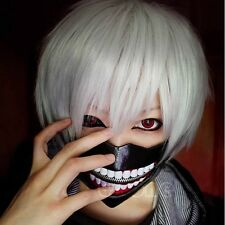 Tokyo Ghoul Wigs Kaneki Ken Short Silver White Cosplay Wig Straight Hair Costume
