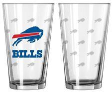 Buffalo Bills Satin Etch Pint Glass Set of 2 [NEW] NFL Drink Bar Cup Mug 16oz