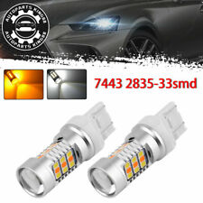 2x 7443 7440 33 SMD White/Amber Switchback LED Turn Signal Light Bulbs