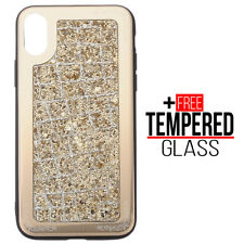 Voor iPhone X XS Bling Glitter Sparkly Soft Silicone Case Shockproof Cover Goud
