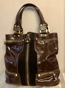 Large Designer Jimmy Choo Brown Patent Leather Suede MOD 60s Look Tote Zippers