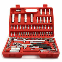 94 pcs Socket Set Screwdriver Bits Ratchet Handle 1/2in 1/4in Tool Kit Tool Box