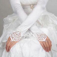 Women Fingerless Lace Sequins Satin Bridal Glove Long Opera Wedding Gloves White