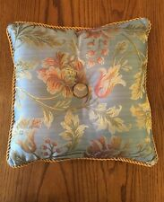 Jacquard Tufted Pillow Blue Pink Yellow Floral Square Cushion Used