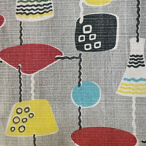 1950s VINTAGE COTTON FABRIC. CLASSIC MID-CENTURY MODERN ATOMIC DESIGN