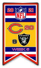2021 Semaine 5 Bannière Broche NFL Chicago Bears Vs. Las Vegas Raiders Super Bol