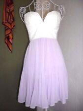 New Size 6 Dottie Strapless Mini Evening Dress, Padded Bra Lilac & Cream
