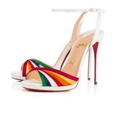 NIB Christian Louboutin Naseeba 120 White Red Ankle Strap Sandal Heel Pump 37