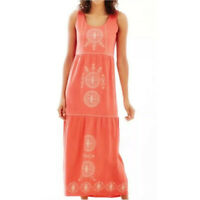 NWT J Jill Womens Size Small Petite & Tall Coral Tiered Embroidered Maxi Dress