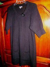 Apt 9 Long Black Cardigan Tunic Sweater Women's Size M One Top Button - Half Slv