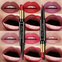NEW 2 In 1 Waterproof Matte Lip Liner Double-head Lipstick Pencil Pen Makeup EB
