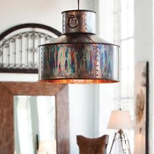 MID CENTURY INDUSTRIAL OXIDIZED PENDANT LIGHT CHANDELIER HANGING METAL SHADE
