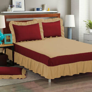 """Designer 3 Piece Bed Spread/Bed Skirt 15"""" drop 800 TC 100% Cotton ALL SIZE&COLOR"""