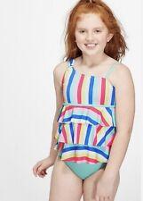 New! Justice Rainbow Stripe One Shoulder Tiered Tankini Swim Suit Size 10