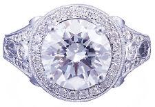 14k white gold round forever one moissanite diamond engagement ring deco 2.70ctw
