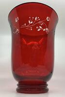 NIB Longaberger Red Glass Hurricane Shade Etched 71303 In Original Box Valentine