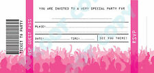 CONCERT TICKETS kids children birthday party INVITATIONS Pack of 10 No76