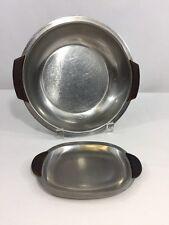 Vintage Mid Century Modern Stainless Steel & Teak Serving Bowl & Tray